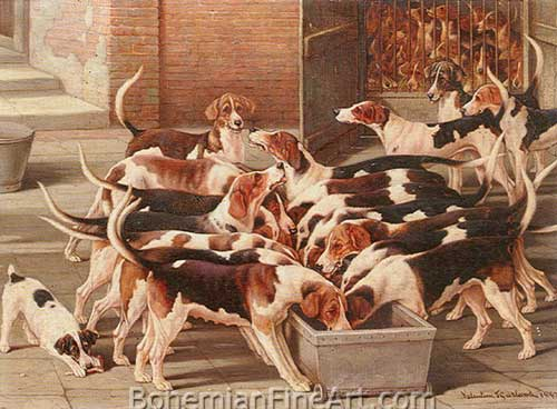 Valentine Thomas Garland, Hursley Hounds Fine Art Reproduction Oil Painting
