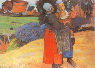 Paul Gauguin, Two Breton Women on the Road Fine Art Reproduction Oil Painting
