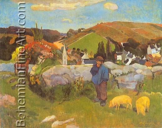 Paul Gauguin, The Swineherd, Brittany Fine Art Reproduction Oil Painting