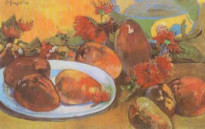 Paul Gauguin, Still Life with Mangoes Fine Art Reproduction Oil Painting