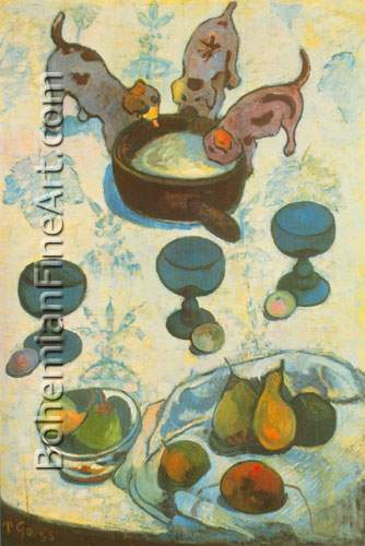 Paul Gauguin, Still-Life with Puppies Fine Art Reproduction Oil Painting