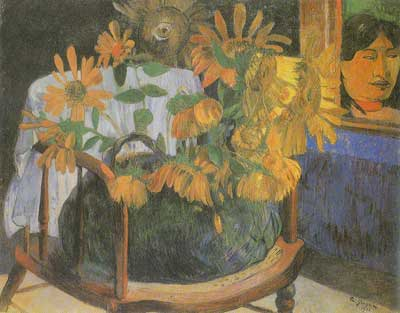 Paul Gauguin, Sunflowers on a Chair Fine Art Reproduction Oil Painting