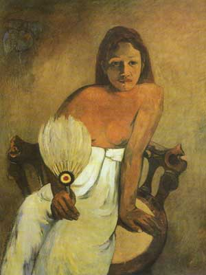 Paul Gauguin, Girl with a Fan Fine Art Reproduction Oil Painting