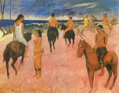 Paul Gauguin, Horsemen on the Beach Fine Art Reproduction Oil Painting