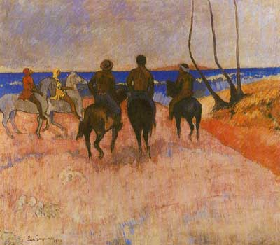 Paul Gauguin, Horsemen on the Beach 2 Fine Art Reproduction Oil Painting
