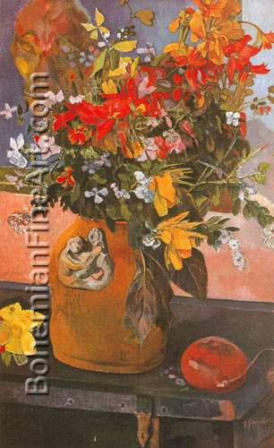 Paul Gauguin, Still-Life with Flowers Fine Art Reproduction Oil Painting