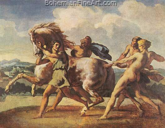 Theodore Gericault, Capture of a Wild Horse Fine Art Reproduction Oil Painting