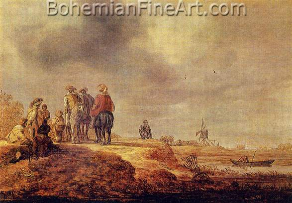 Jan Van Goyen, Landscape with Three Travellers on Horseback Fine Art Reproduction Oil Painting