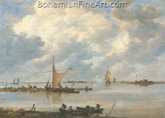Jan Van Goyen, An Estuary with Fishing Boats Fine Art Reproduction Oil Painting