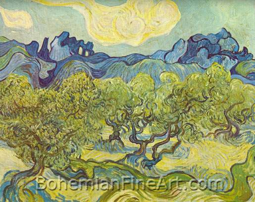 Vincent Van Gogh, Landscape with Olive Trees Fine Art Reproduction Oil Painting