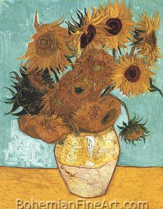 Vincent Van Gogh, Vase with Twelve Sunflowers Fine Art Reproduction Oil Painting