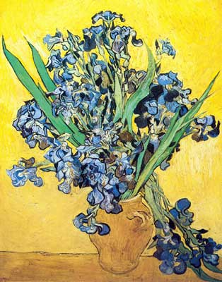 Still Life Vase With Irises Thick Impasto Paint Vincent Van