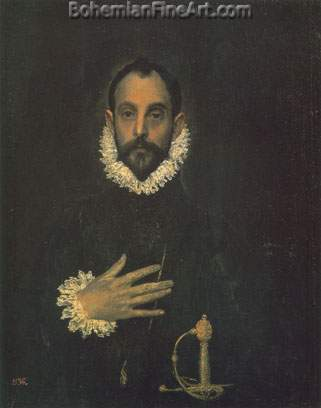 Domenico El Greco, Man with His Hand on His Breast Fine Art Reproduction Oil Painting