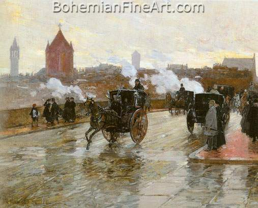 Childe Hassam, Corner of Berkeley and Columbus Avenue Fine Art Reproduction Oil Painting