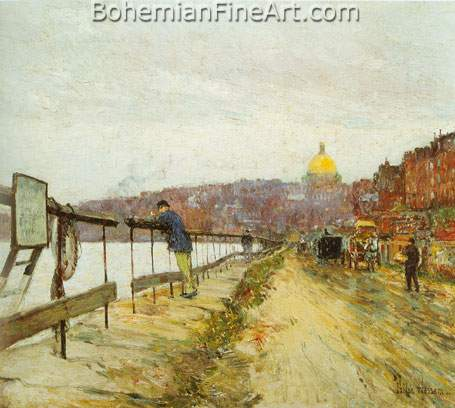 Childe Hassam, Charles River and Beacon Hill Fine Art Reproduction Oil Painting