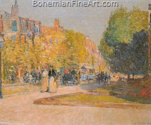 Childe Hassam, Marlborough Street, Boston Fine Art Reproduction Oil Painting