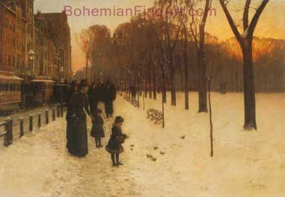 Childe Hassam, Boston Common at Twilight Fine Art Reproduction Oil Painting