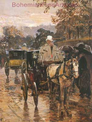 Childe Hassam, Fiacre, Rue Bonaparte Fine Art Reproduction Oil Painting