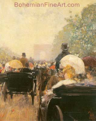 Childe Hassam, Carriage Parade Fine Art Reproduction Oil Painting