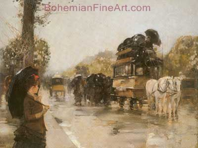 Childe Hassam, April Showers, Champs Elysees Fine Art Reproduction Oil Painting