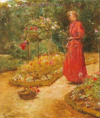 Childe Hassam, Woman Cutting Roses in a Garden Fine Art Reproduction Oil Painting