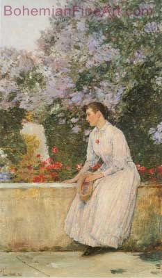 Childe Hassam, In the Garden at Villers le Bel Fine Art Reproduction Oil Painting