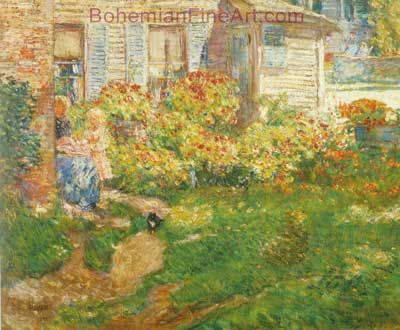 Childe Hassam, A Fishermans Cottage, Gloucester Fine Art Reproduction Oil Painting