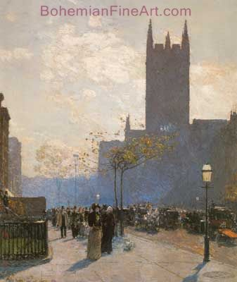 Childe Hassam, Lower Fifth Avenue Fine Art Reproduction Oil Painting