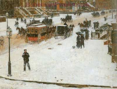 Childe Hassam, Fifth Avenue in Winter Fine Art Reproduction Oil Painting