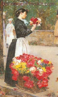 Childe Hassam, Flower Girl Fine Art Reproduction Oil Painting