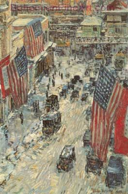 Childe Hassam, Flags on Fifty-Seventh Street Fine Art Reproduction Oil Painting