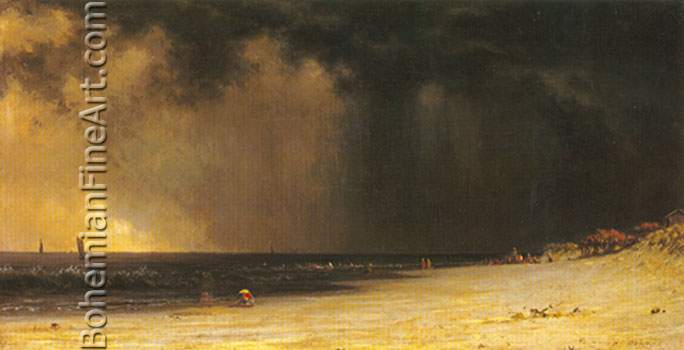 Martin Johnson Heade, Thunderstorm at the Shore Fine Art Reproduction Oil Painting