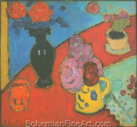 Alexei von Jawlensky, Still Life with Vase and Jug Fine Art Reproduction Oil Painting