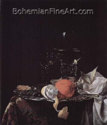 Willem Kalf, Still Life with a Roemer+ Wine Glass+ Orange Fine Art Reproduction Oil Painting