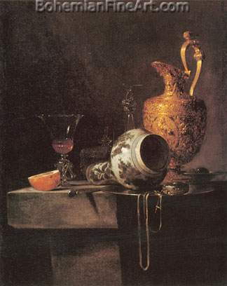 Willem Kalf, Still Life with a Porcelain Vase Fine Art Reproduction Oil Painting