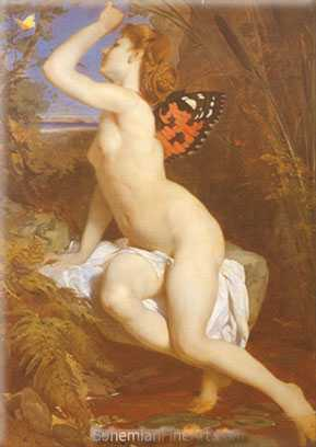 Ferdinand Keller, The Beauty and Butterfly Fine Art Reproduction Oil Painting