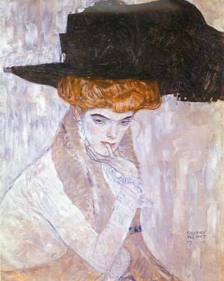 Gustave Klimt, Lady with a Hat and Feather Boa Fine Art Reproduction Oil Painting