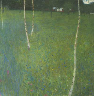 Gustave Klimt, Farmhouse with Birch Trees Fine Art Reproduction Oil Painting
