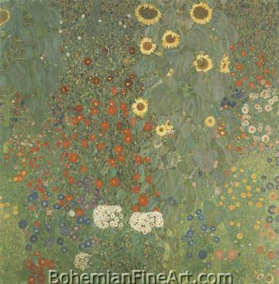 Gustave Klimt, Farm Garden with Sunflowers Fine Art Reproduction Oil Painting
