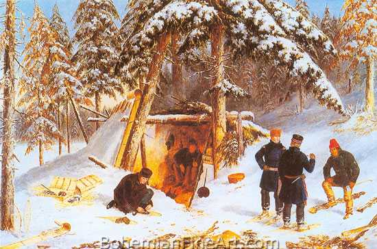 Cornelius Krieghoff, Sportsmen in Winter Camp Fine Art Reproduction Oil Painting