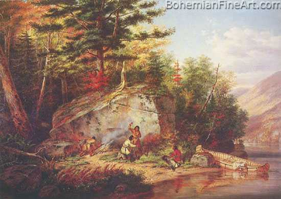 Cornelius Krieghoff, Indians Camping at Foot of Big Rock Fine Art Reproduction Oil Painting
