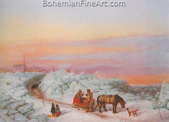 Cornelius Krieghoff, Habitants in Winter Fine Art Reproduction Oil Painting