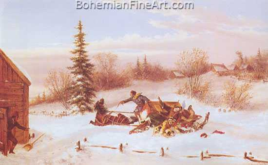 Cornelius Krieghoff, The Upset Sleigh Fine Art Reproduction Oil Painting