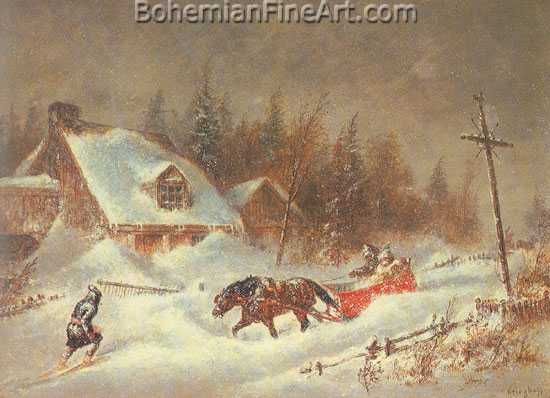 Cornelius Krieghoff, The Blizzard Fine Art Reproduction Oil Painting