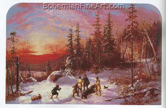 Cornelius Krieghoff, Death of the Moose Fine Art Reproduction Oil Painting