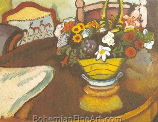 August Macke, Still-Life with Stag Cushion and Flowers Fine Art Reproduction Oil Painting