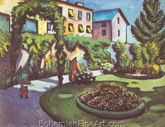 August Macke, Garden Picture Fine Art Reproduction Oil Painting