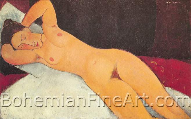 Amedeo Modigliani, Nude with Necklace, Her Eyes Closed Fine Art Reproduction Oil Painting