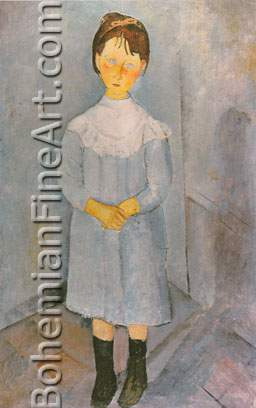 Amedeo Modigliani, Little Girl in Blue Fine Art Reproduction Oil Painting