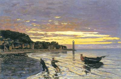Claude Monet, Towing a Boat, Honfleur Fine Art Reproduction Oil Painting